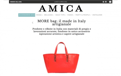www.amica.it e M O R E bag, il made in Italy artigianale